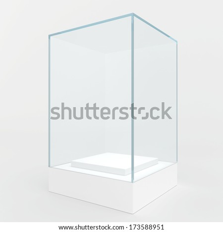 showcase not high podium and a glass cube. isolated on gray background - stock photo