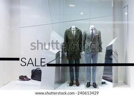 showcase of modern fashion shop - stock photo