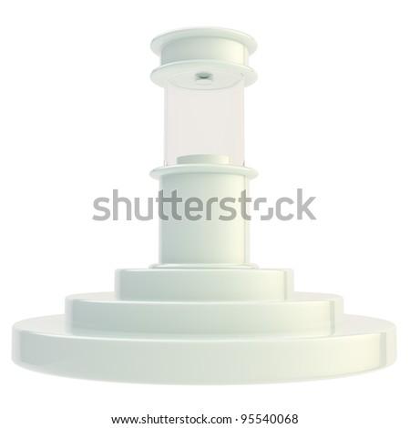 Showcase stand on the step podium isolated on white - stock photo