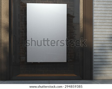 Showcase with blank canvas. 3d rendering - stock photo