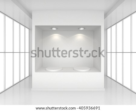 Showcase with lights and podiums for samples product in blank interior room large windows. 3d rendering