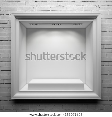 showcase with white stand and frame - stock photo
