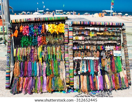 Showcases with bracelets, earrings and necklaces on the street market in Rio de Janeiro, Brazil.