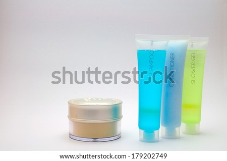 Shower and cosmetic set isolated. - stock photo