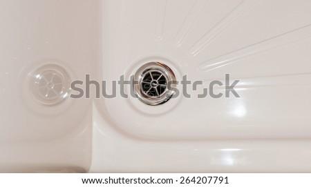 Shower drain close up - stock photo