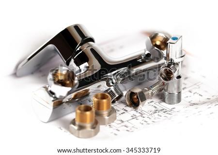 shower faucet, plumbing and draft for repair - stock photo