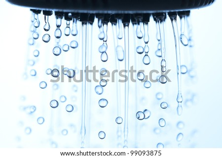 Shower head and water drops. - stock photo
