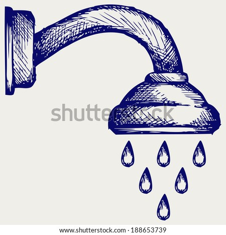 Shower Head. Doodle style. Raster version - stock photo