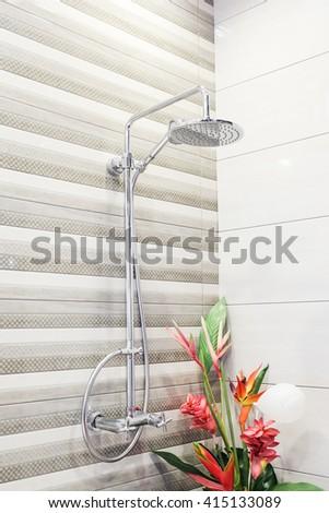 Shower head in bathroom - stock photo