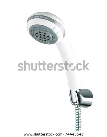 Shower head with adjustable water spray knob isolated on white - stock photo