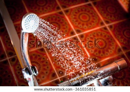 Shower head with water running