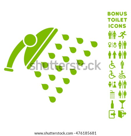 Shower icon and bonus male and lady lavatory symbols. Glyph illustration style is flat iconic symbols, eco green color, white background.