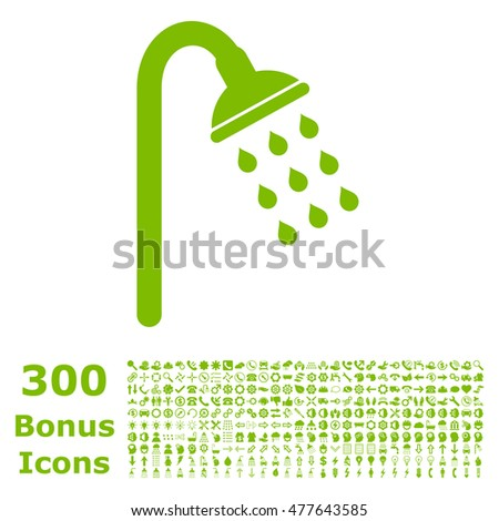 Shower icon with 300 bonus icons. Glyph illustration style is flat iconic symbols, eco green color, white background.