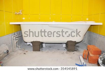 Shower Installation and Bathtub Installation - stock photo