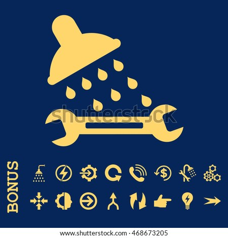 Shower Plumbing glyph icon. Image style is a flat iconic symbol, yellow color, blue background.