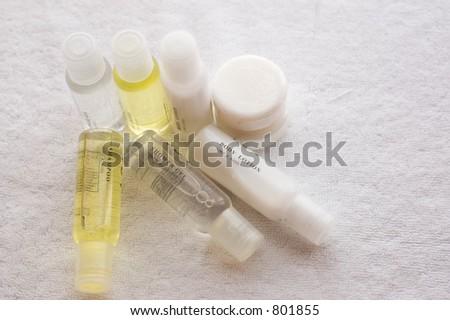 shower shampoo body lotion lime and basil II - stock photo
