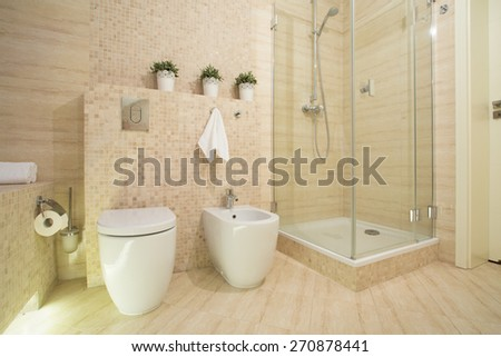 Shower with glass door in modern fancy washroom - stock photo