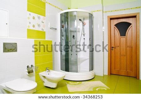 shower with opened screen in luxury bathroom - stock photo