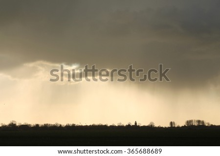 Showers over Deinum, Friesland, the Netherlands