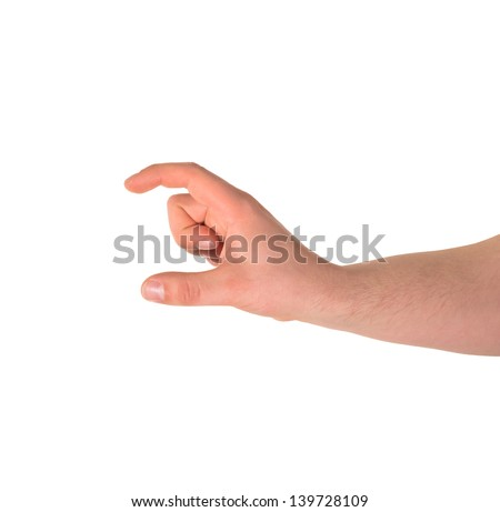 Showing a small size sign as caucasian hand gesture isolated over white background - stock photo
