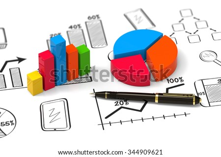 Showing business and financial report as concept - stock photo
