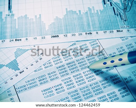 Showing business and financial report  concept - stock photo