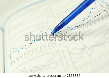 Showing business and financial report  concept of financial report - stock photo
