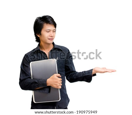 showing businessman  on white background - stock photo
