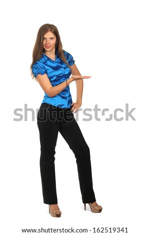 Showing businesswoman on white - stock photo
