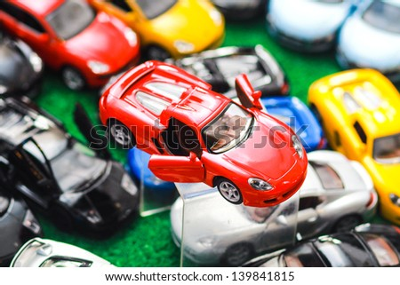 showing expensive model car toys - stock photo