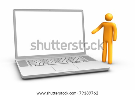 Showing laptop. clipping path included. - stock photo