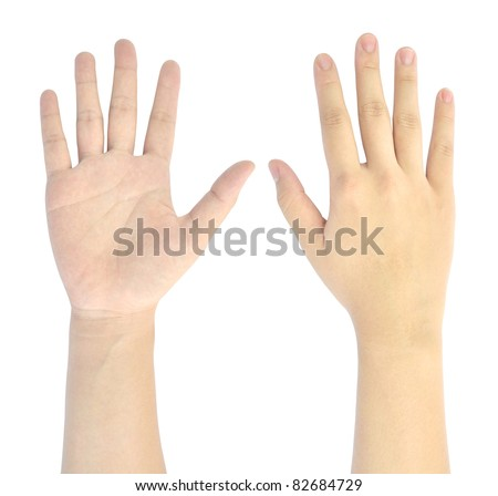 showing number five of woman hand isolated on white background - stock photo
