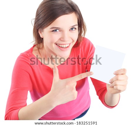 Showing sign woman. Woman showing empty blank paper sign board with copy space for text or design.