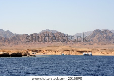 showing the barren desert region of the Sinai Peninsula around the Red Sea, Egypt - stock photo