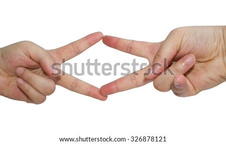Showing the two fingers left and right on the white background.