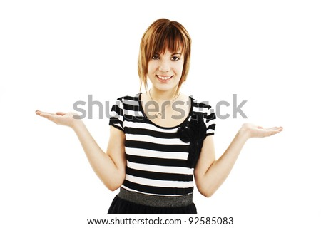 Showing woman - two hands empty for product or text. Casual woman isolated on white background. - stock photo