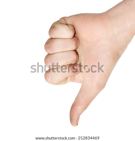 shows a hand down on a white background - stock photo