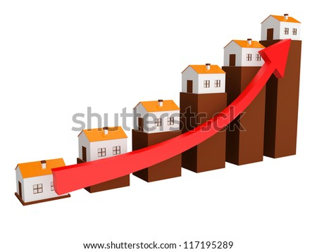 Shows a rise in prices for real estate - stock photo