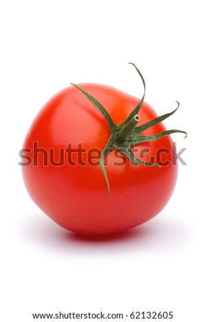 Shows a tomato. Isolated on white background.