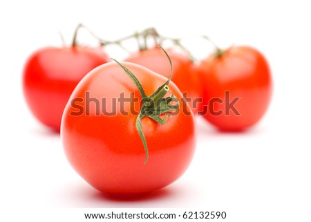 Shows a tomato on the background branches with tomatoes. The background is blurred. Isolated on white background.