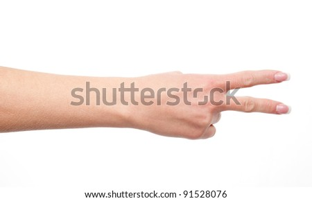 shows a woman's hand with two fingers, isolated on white background - stock photo