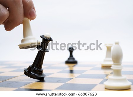Shows chess on chess board