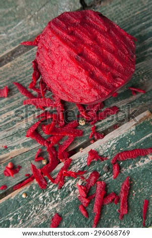 Shredded beetroot for salad - stock photo