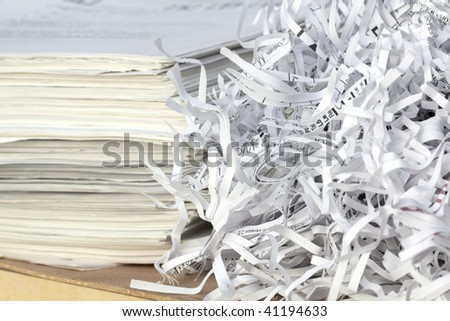 Shredded paper and documents. - stock photo