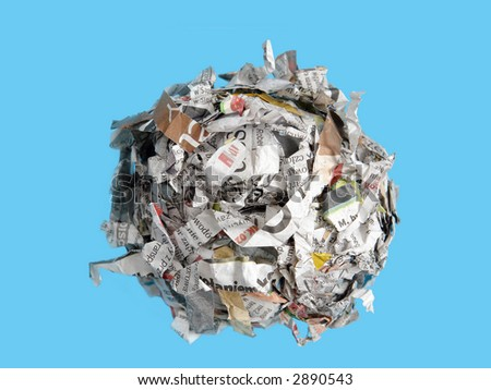 Shredded paper cuttings formed into sphere over blue background - stock photo