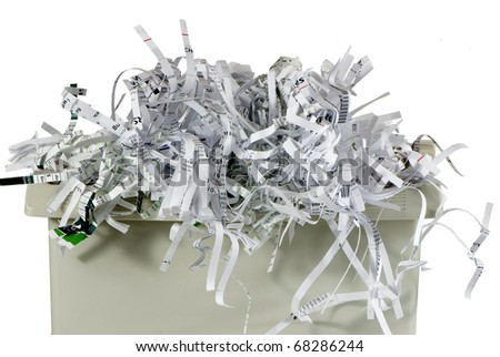 shredded paper in a basket - stock photo