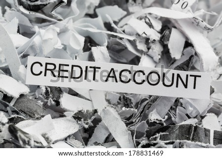 shredded paper tagged with credit account, symbolic photo for data destruction, finance and credit - stock photo