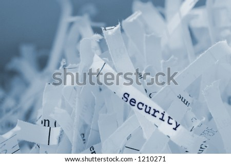 Shredded paper with text. Concept: Security concerns. - stock photo