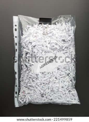 Shredded papers of agreement - stock photo