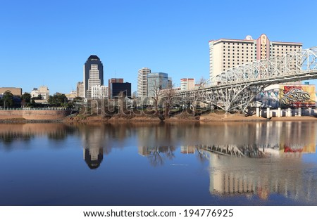 SHREVEPORT, LA - MARCH 13: The waterfront area located in Shreveport, Louisiana on March 13, 2014. Shreveport is the third largest city in the state of Louisiana. - stock photo